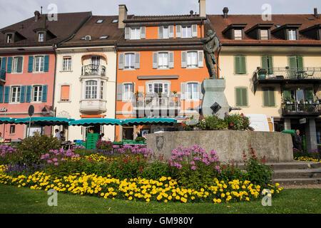 Switzerland, Canton Fribourg, Bulle, main square - Stock Photo