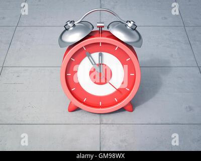 3D Rendering, red alarm clock, five to twelve - Stock Photo
