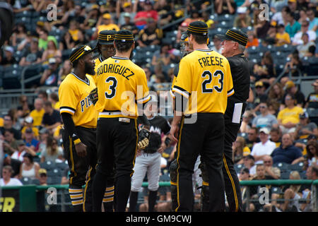 August 21, 2016; Pittsburgh, PA, USA; Pittsburgh Pirates played the Miami Marlins at PNC Park.  Miami defeated Pittsburgh - Stock Photo