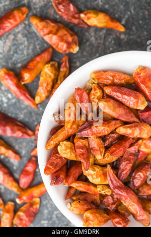 Dried mini chili peppers in bowl on kitchen table. Top view. - Stock Photo