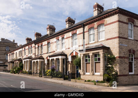 Victorian white Pease brick built terraced houses in Warrier Terrace, Saltburn by the Sea, North Yorkshire, England, - Stock Photo