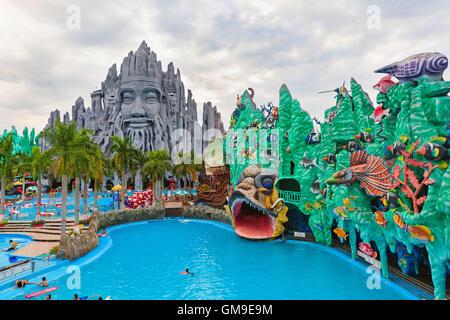 Ho Chi Minh city ( Saigon ), Vietnam - September 02, 2015: People in outdoor swimming pool in children water park Suoi Tien