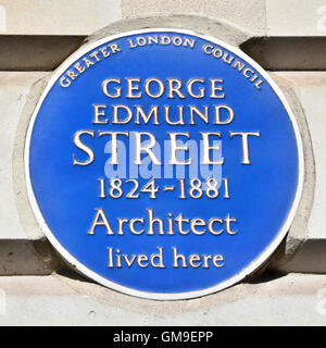 London England UK Blue Plaque recording the one time residence of the architect George Edmund Street designer of - Stock Photo
