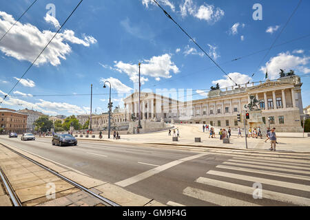 Vienna, Austria - August 14, 2016: Street in front of the Austrian Parliament Building. - Stock Photo