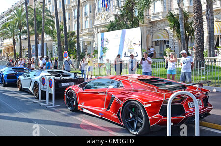 Lamborghini car, Boulevard de la Croisette, Cannes, Provence-Alpes-Cote d'Azur,  France