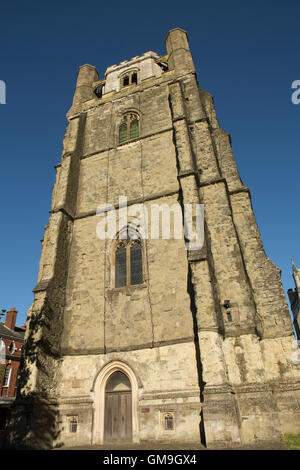 Canon Gate and free standing bell tower at the Cathedral in the county town of Chichester West Sussex. - Stock Photo