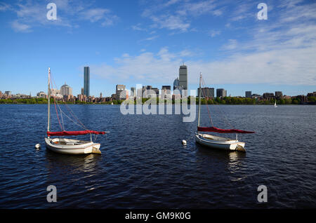 Massachusetts, Boston, Boats on Charles river - Stock Photo