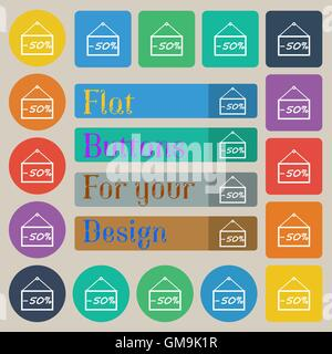 50 discount icon sign. Set of twenty colored flat, round, square and rectangular buttons. Vector - Stock Photo
