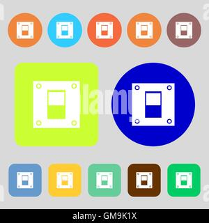 Power switch icon sign. 12 colored buttons. Flat design. Vector - Stock Photo
