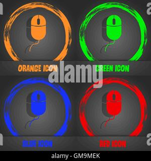 Computer mouse sign icon. Optical with wheel symbol. Fashionable modern style. In the orange, green, blue, red design. - Stock Photo