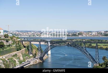 Ponte Dona Maria, or Maria Pia bridge over the Douro river, Porto, Portugal. - Stock Photo