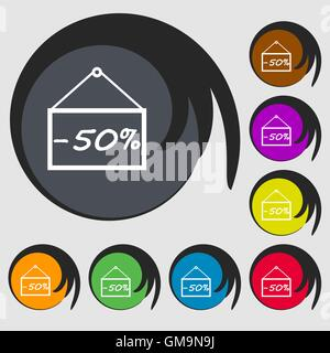 50 discount icon sign. Symbols on eight colored buttons. Vector - Stock Photo