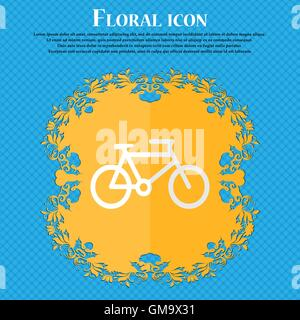 bike. Floral flat design on a blue abstract background with place for your text. Vector - Stock Photo