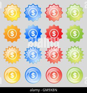 Dollar icon sign. Big set of 16 colorful modern buttons for your design. Vector - Stock Photo