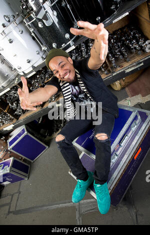Anderson .Paak poses for portrait session on April 5, 2016 in Los Angeles, California, USA - Stock Photo