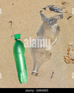 DOMINICAN REPUBLIC - Garbage on beach, plastic bottles and trash, near mouth of Yasica RIver. - Stock Photo