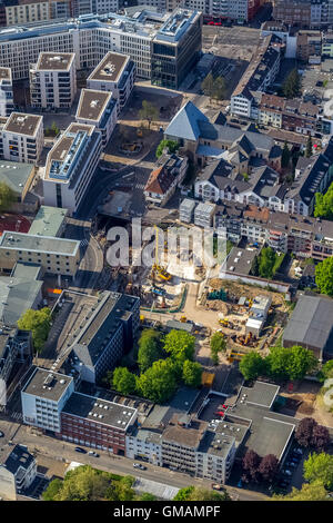 Aerial view, construction site at the location of the inserted assisted City Archive of Cologne, collapse of Historical - Stock Photo