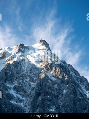 L'Aguille du Midi view from Chamonix - Stock Photo