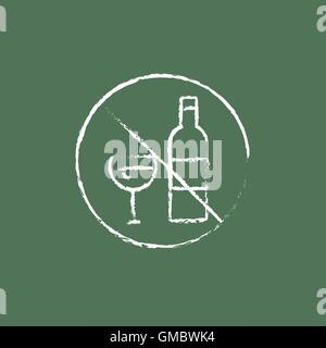 No alcohol sign icon drawn in chalk. - Stock Photo