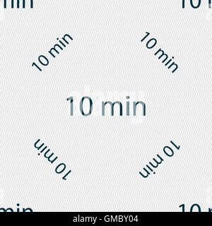 ten minutes sign icon. Seamless pattern with geometric texture. Vector - Stock Photo