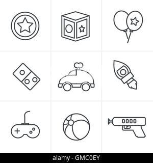 Line Icons Style  toy icons, mono vector symbols - Stock Photo