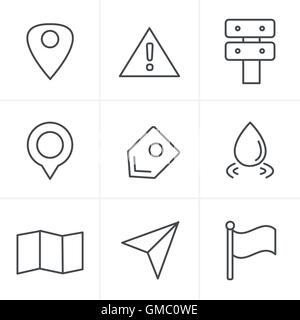 Line Icons Style Map icons on white background. GPS and Navigati - Stock Photo