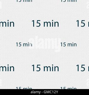 fifteen minutes sign icon. Seamless pattern with geometric texture. Vector - Stock Photo