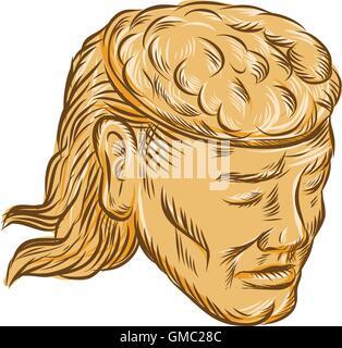 Man Open Head Brain Etching - Stock Photo