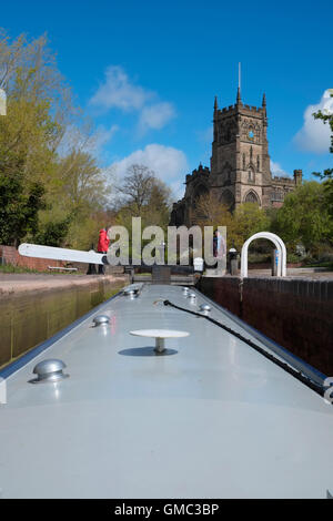 A narrowboat in Kidderminster Lock on the Staffordshire and Worcestershire Canal. Kidderminster, Worcestershire, - Stock Photo