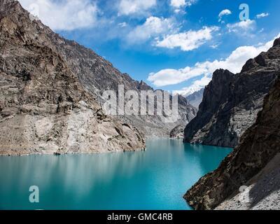 Attabad lake in the Gojal valley, Hunza, Gilgit-Baltistan, Pakistan - Stock Photo