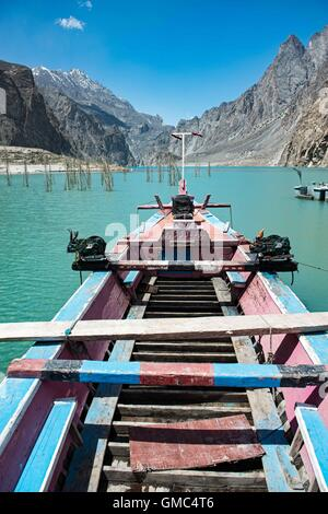 Abandoned boat on Attabad Lake, Gojal, also known as Gojal Lake - Stock Photo