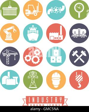 Collection of 16 colored round industry themed vector icons - Stock Photo