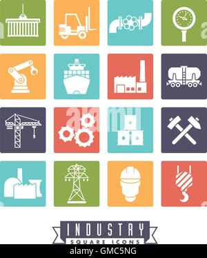 Collection of 16 colored square industry themed vector icons - Stock Photo