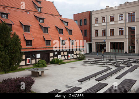 Benches at Old Granary in Bydgoszcz, Poland - Stock Photo