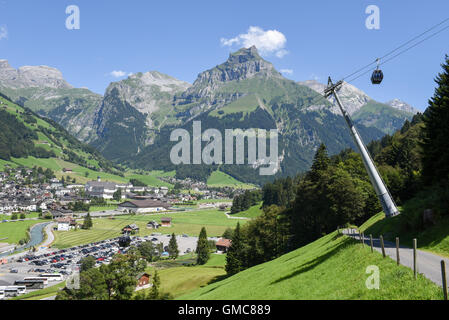 Engelberg, Switzerland - 8 august 2016: The cableway over Engelberg on the Swiss alps - Stock Photo