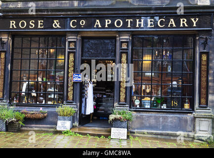 Old chemist in Haworth, Yorkshire - Stock Photo