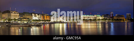 Evening panorama of Hamburg from Alster lake, Germany - Stock Photo
