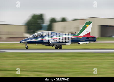 An Aermacchi MB-339PAN Jet Trainer, number seven of the Italian Air Force Military Aerobatic Display Team The Frecce - Stock Photo