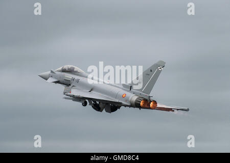 A Eurofighter EF2000 from the Spanish Air Force departs Fairford's runway to display at the 2016 Royal International - Stock Photo