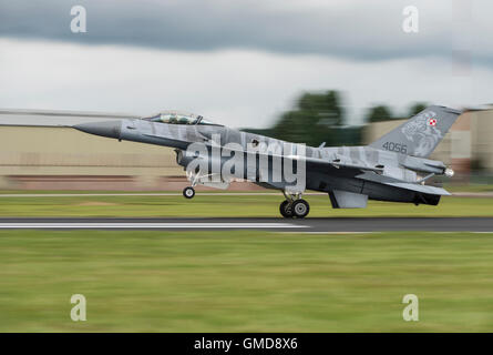 General Dynamic Lockheed Martin F-16C Fighting Falcon Military Jet Fighter 4056 of the Polish Air Force lands at - Stock Photo