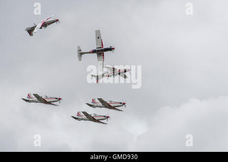 The Croatian Air Force Military Aerobatic Display Team Krila Oluje fly their Pilatus PC-9M turboprop trainers at - Stock Photo