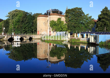 The Gate of Ghent - Gentpoort (1400) in Bruges, Belgium - Stock Photo