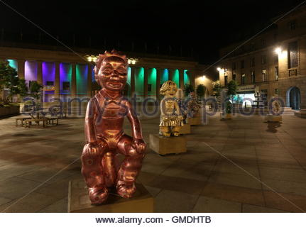 Touring Oor Wullie statues back in City Square by night Dundee Scotland  August 2016 - Stock Photo