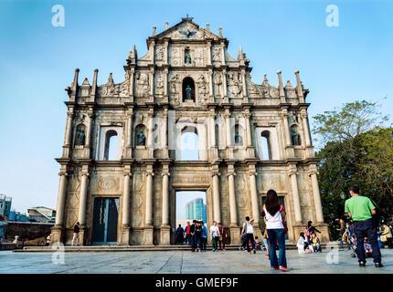 st paul's church ruins famous tourist attraction landmark in macau china