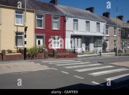 New Road in Llandeilo with zebra crossing - Stock Photo