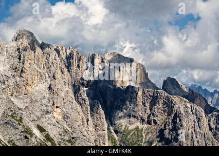 The Dolomites, Trentino, Italy. Summer view in the Pale di San Martino looking north from the central plateau (the - Stock Photo