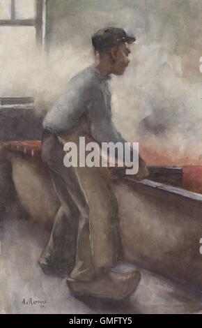 A Scraper, by Anthon Gerhard Alexander van Rappard, c. 1868-92. Dutch watercolor painting of a worker wearing clogs - Stock Photo