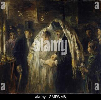 Jewish Wedding, by Jozef Israels, 1903, Dutch painting, oil on canvas. The bride and groom are under the prayer - Stock Photo