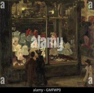 Shop Window, by Isaac Israels, 1894, Dutch painting, oil on canvas. A couple look at children's apparel in the illuminated - Stock Photo