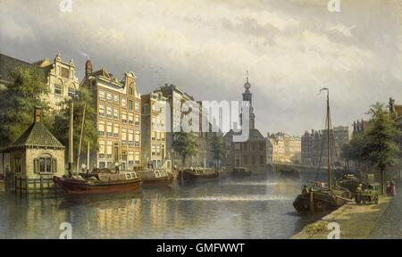 The Singel, Amsterdam, View Toward the Mint, by Eduard Alexander Hilverdink, 1884-86. Dutch painting. The Singel - Stock Photo